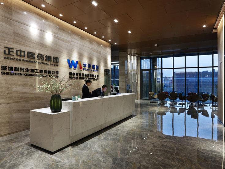 上海杨浦区药业公司写字楼大厅设计..