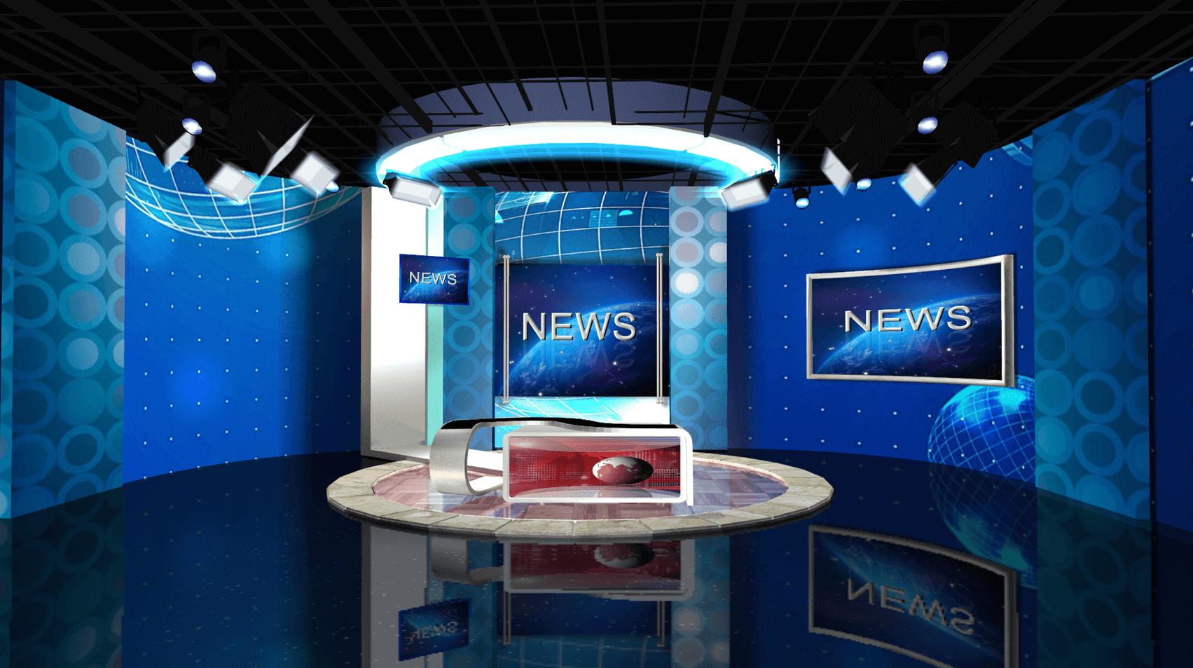 幽蓝深邃新闻直播间装修设计