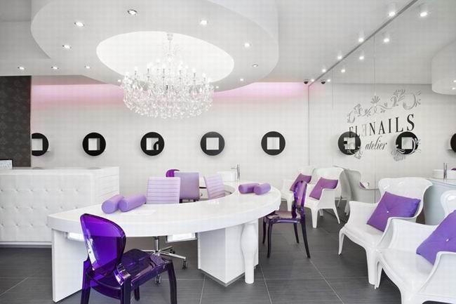 紫色主题婚庆公司前台大厅设计【浦东装修公司