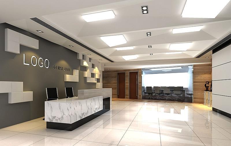 闵行办公室装修前台设计效果图