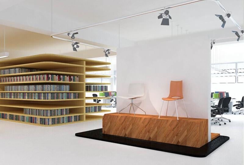 办公室员工空间设计书库装饰..