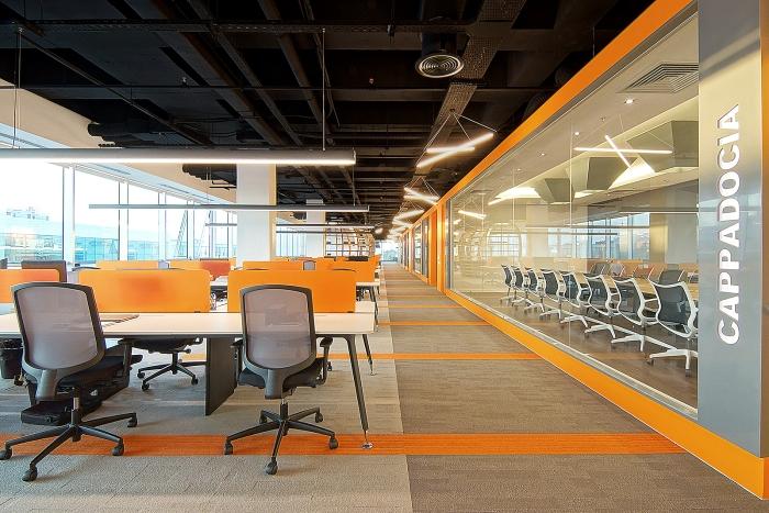 大型公司办公室过道设计装修图片..