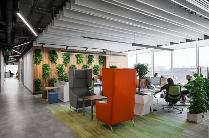 以绿色自然元素的办公室装修设计效果