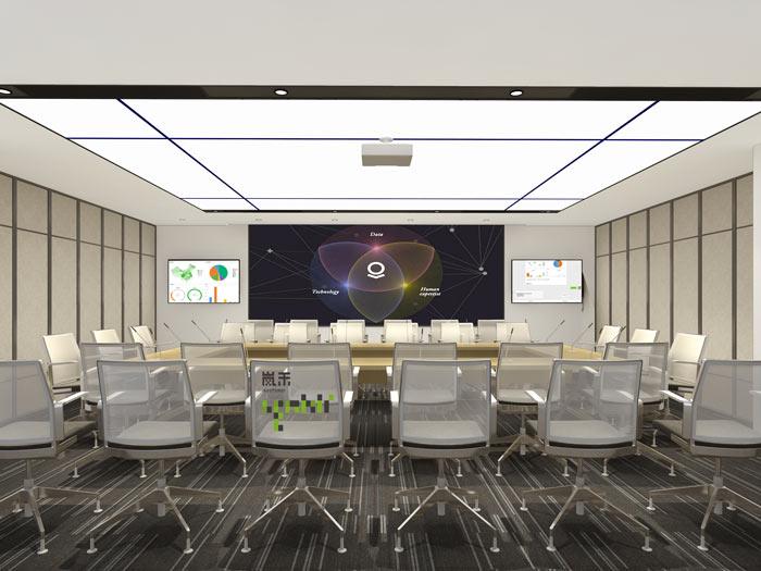 互联网媒体办公室会议室装修设计效果图