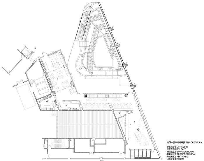 集团总部办公楼地下一层咖啡吧平面图