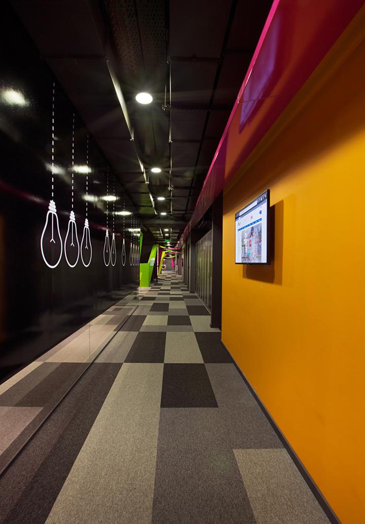 """上海写字楼装修- 色彩""""緞帶""""空間設計,Markafoni.com公司新總部辦公室"""